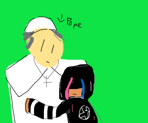 An emo hugging the pope