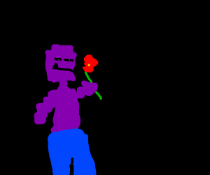 Purple guy eating flower