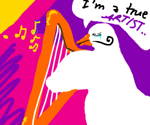 A goose playing the harp