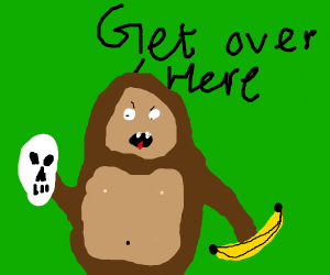 Monkey says get over here while holding skull