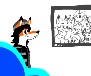 furry watches tv