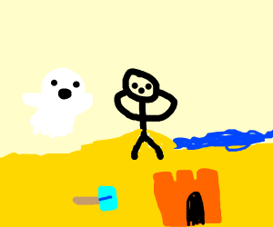ghost scares a person on the beach