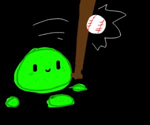 A pile of goo plays baseball
