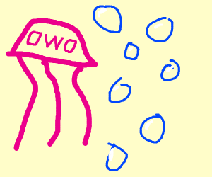 Pink 0w0 Jellyfish with plays with bubbles