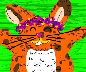 orange spotted rabbit with a flower crown