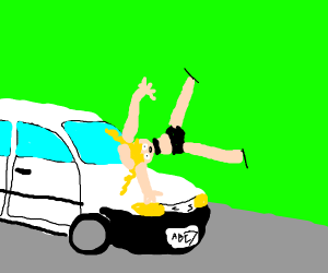 Kagamine Rin gets hit by a train
