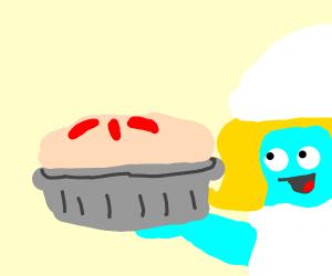 Smurfette made a pie.
