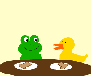 a frog and duck havin a good chat with bread
