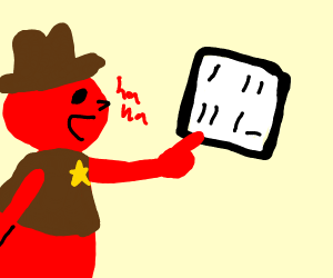 "red cowboy laughing at ""meme"" on the screen"