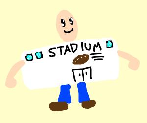 Man dressed as a football stadium