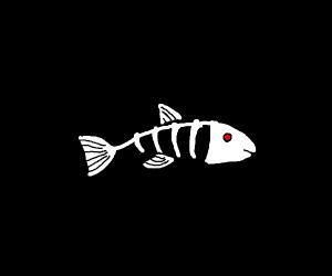 Skeleton fish with laser eyes