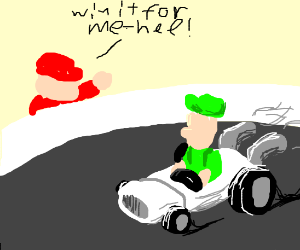 Mario Cheering Luigi on in a Racecar Race