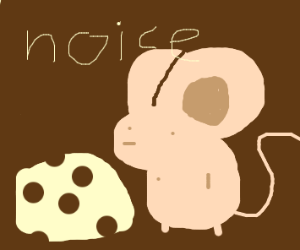 Cute mouse enjoying block of cheese
