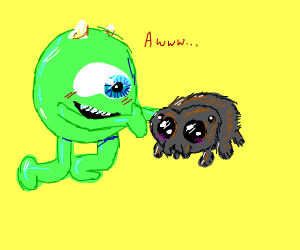 mike wazowski about to hug lucas the spider