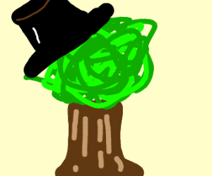 Tree wearing top hat