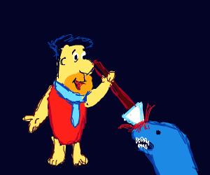 Caveman spearing a dinosaur