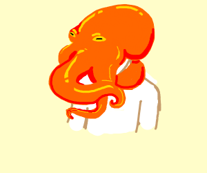 Octopus on a person's head