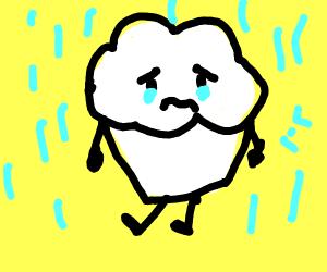 Sad cupcake in the rain