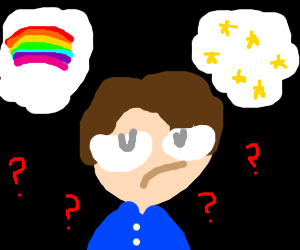 Guy can't decide Rainbow or Stars