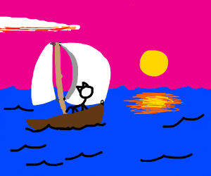 cat on a sailboat in the sea