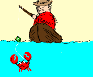 Man Fishing For Krabs To Save Him