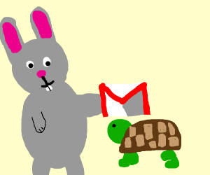 Rabbit gives Gmail to Old Slow Turtle