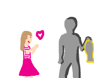 Girl loves shadowy man holding a fish
