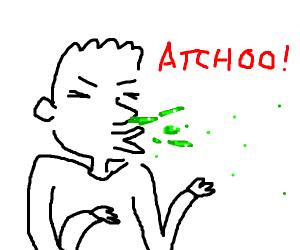 Guy sneezing