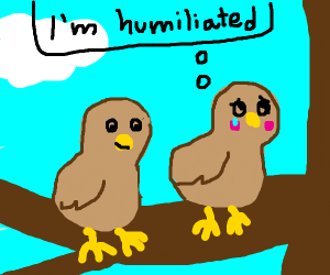 2 birds on a branch (one humiliated)