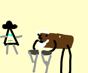 Triangle with hat and elderly brownie