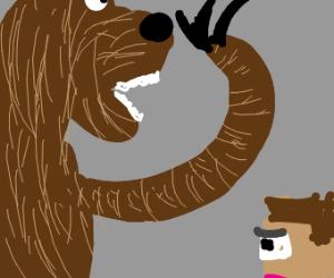 Bear going to kill Minecraft Steve
