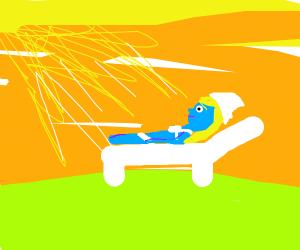 Smurfette sunbathing