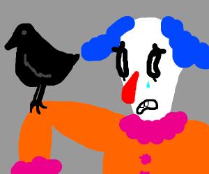 goth clown holding a raven