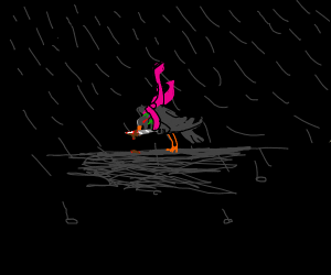 Pigeon with pink scarf in rain out to kill