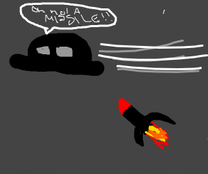 ufo about to be blasted by missile