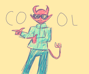 Devil in sunglasses and a cooool jacket