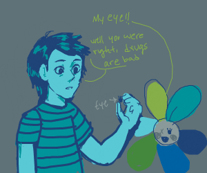 Blue Guy took Flower's eye