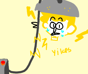 happy floating head gets electrocuted