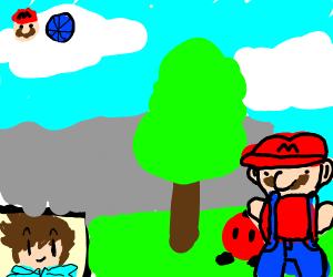 A guy streaming Super Mario