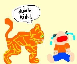 Big buff cat calling a crying kid dumb