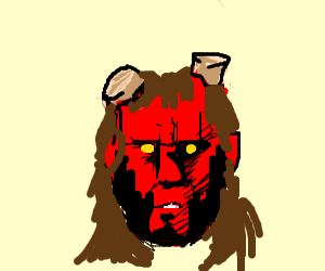 Hellboy with a long, brown wig.