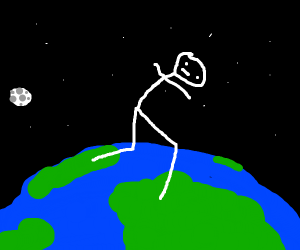 Man running above the Earth