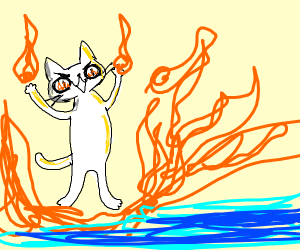 arsonist cat sets fire to the sea