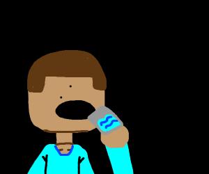 minecraft steve drinking water