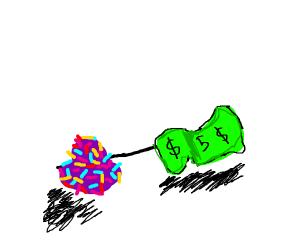 5 dollar bill next to sprinkles