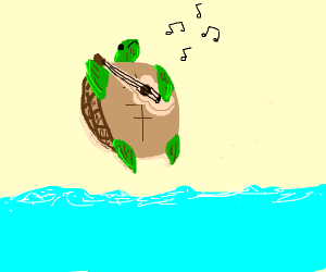 Turtle playing ukulele