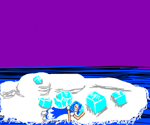 person surrounded by giant ice cubes sleeps