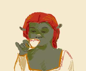 Ogre drinking tea.