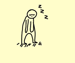 man is sleeping upright