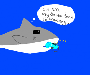 Shark's scuba gear broke